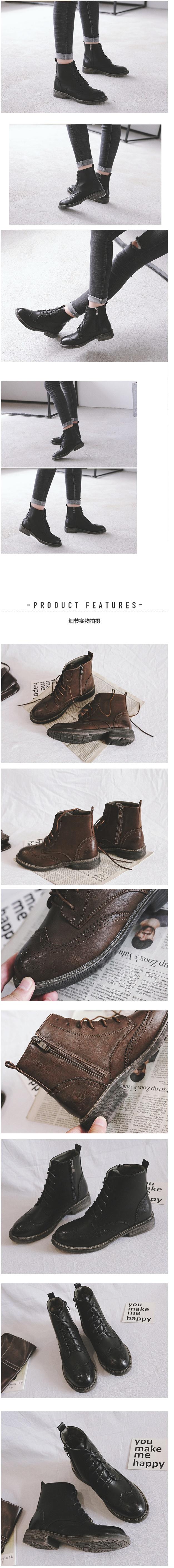 รองเท้า Martin boots มีซิปข้าง