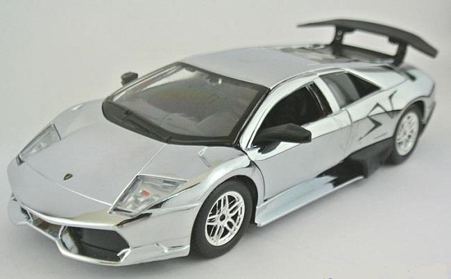 โมเดลรถ โมเดลรถยนต์ โมเดลรถเหล็ก Lamborghini LP670-4 silver 1