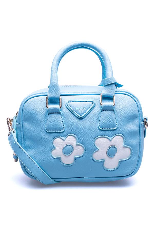กระเป๋าสะพาย AXIXI สีฟ้า ตกแต่งปักลายดอกไม้ ขนาดเล็ก