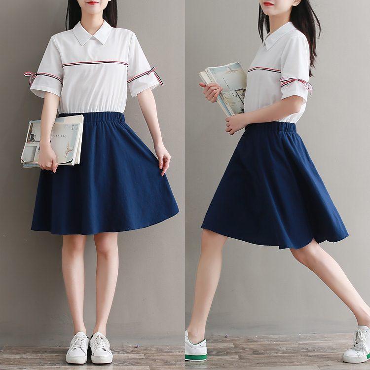**สินค้าหมด Set_bs1604 ชุด 2 ชิ้น(เสื้อ+กระโปรง) เสื้อคอปกสีพื้นขาวแต่งแถบช่วงอกและแขน กระโปรงบานเอวสม็อคยางยืดหลัง ซิปข้าง ผ้าคอตตอนเนื้อดีนุ่มใส่สบาย งานดีแมทช์ได้น่ารักไม่ซ้ำใคร เซ็ทสองชิ้นสวยคุ้ม ใส่เก๋ๆ ได้บ่อย แยกใส่กับตัวอื่นก็สวย