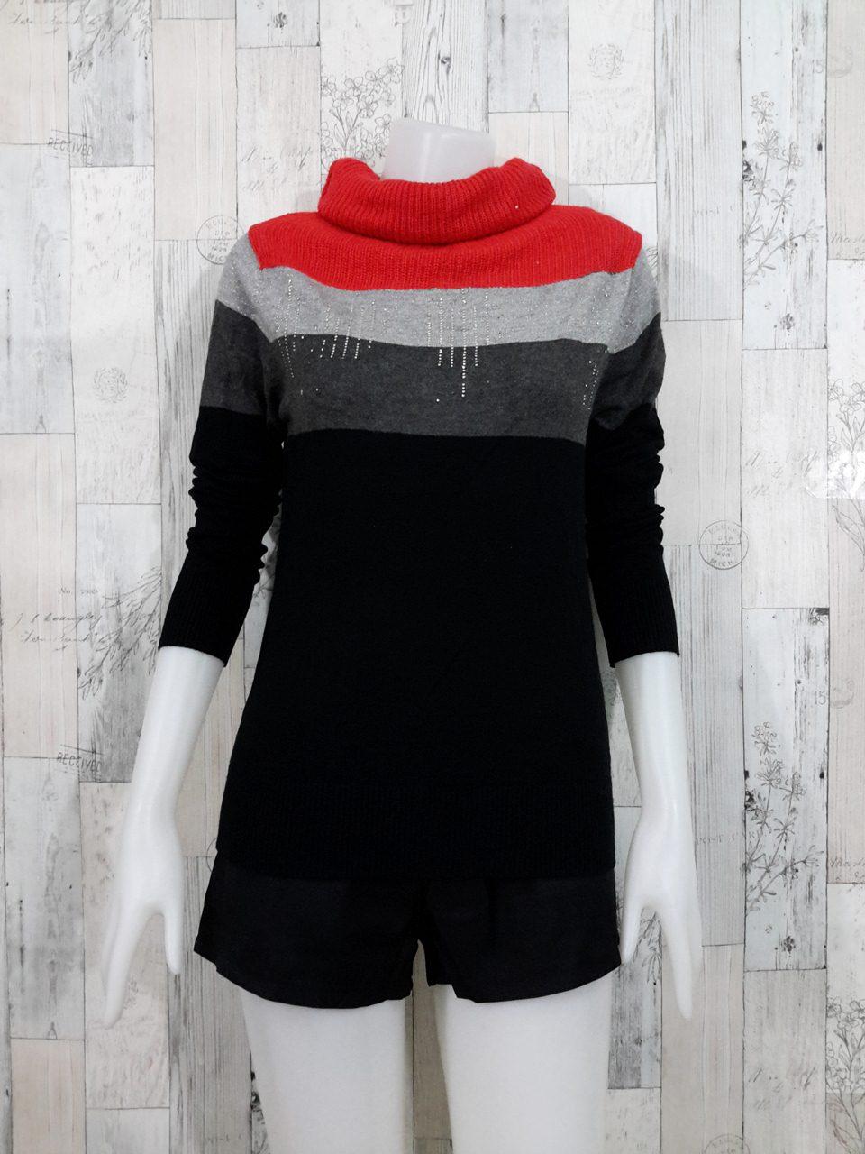 Blouse3542 2nd hand clothes เสื้อไหมพรมเนื้อแน่นผ้านุ่ม(เนื้อหนาปานกลางมีน้ำหนัก) แขนยาว คอเต่า โทนสีดำเทาส้ม