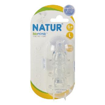 จุกนม biomimic ไม่ดูดไม่ไหล Size L ทรงมาตราฐาน แพค 3 จุก