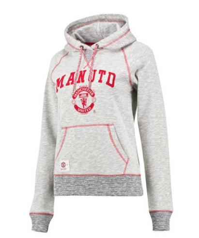 เสื้อแมนเชสเตอร์ ยูไนเต็ดของแท้ สำหรับสุภาพสตรี Manchester United Crest Hoodie -Speckled Grey - Womens