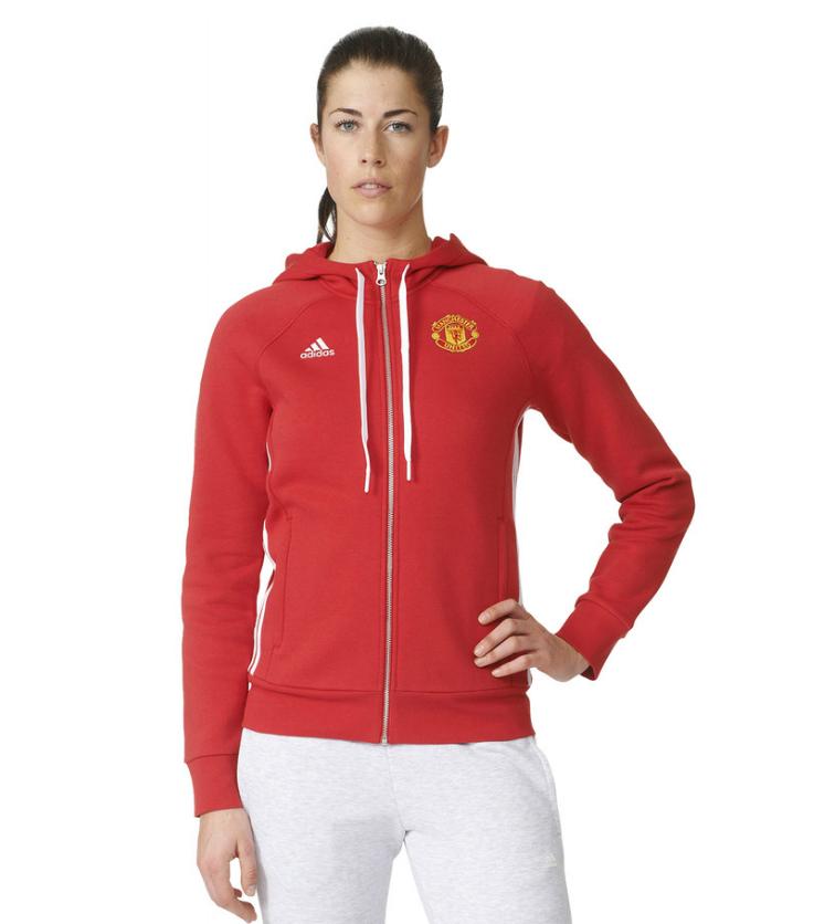 เสื้อฮู้ดอดิดาสแมนเชสเตอร์ ยูไนเต็ด คอร์ฮู้ดดี้ผู้หญิงสีแดงของแท้