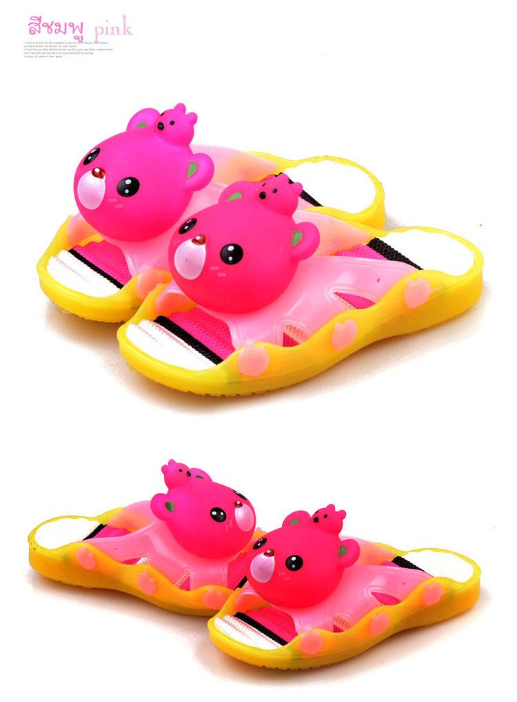 รองเท้าแตะเด็ก มีไฟส้นเท้า หมีสีชมพูบีบหัวมีเสียง Size 24-29