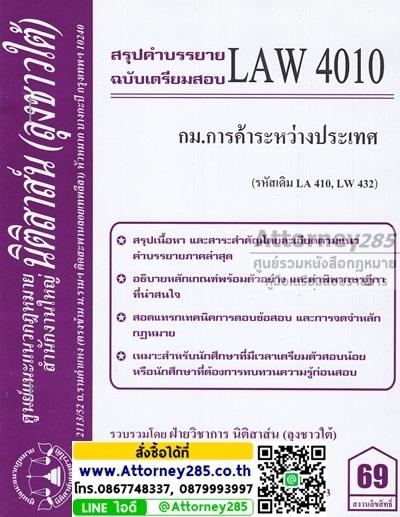 ชีทสรุป LAW 4010 กฎหมายการค้าระหว่างประเทศ ม.รามคำแหง (นิติสาส์น ลุงชาวใต้)
