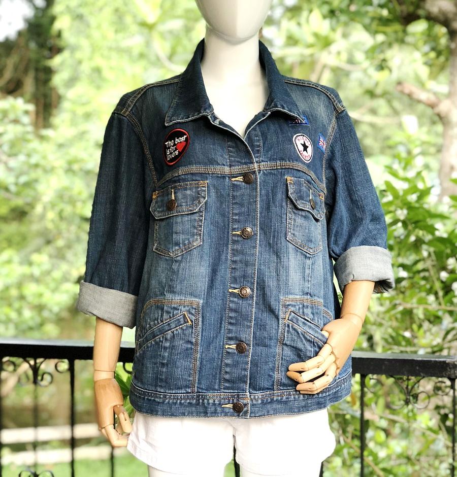 ส่ง:งานจีนเสื้อคลุมแจ็คเก็ตยีนส์แท้แบบเก๋ๆสวยๆ/อก48