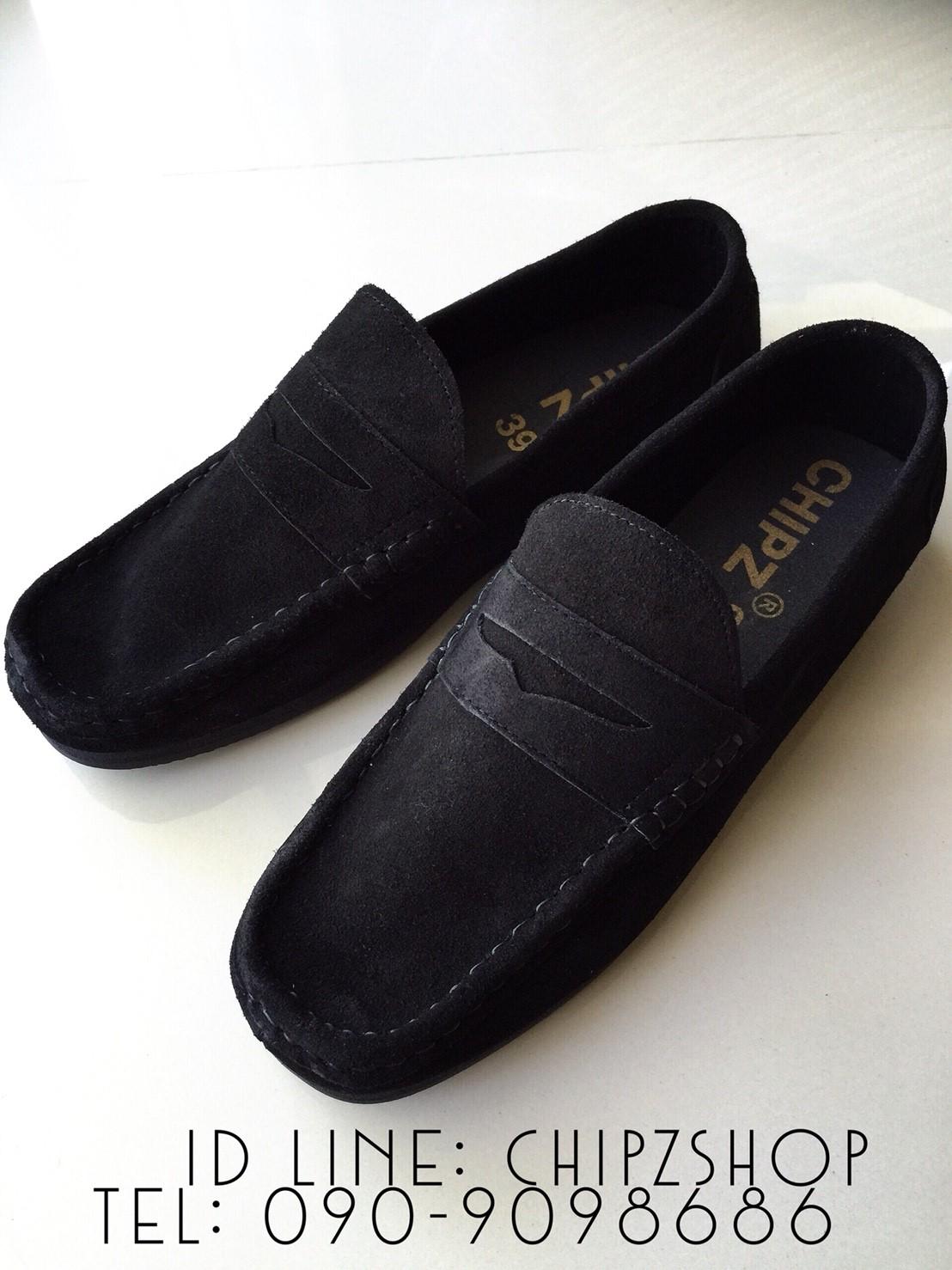 รองเท้าหนังกลับแท้ รุ่นโลฟเฟอร์ สีดำ