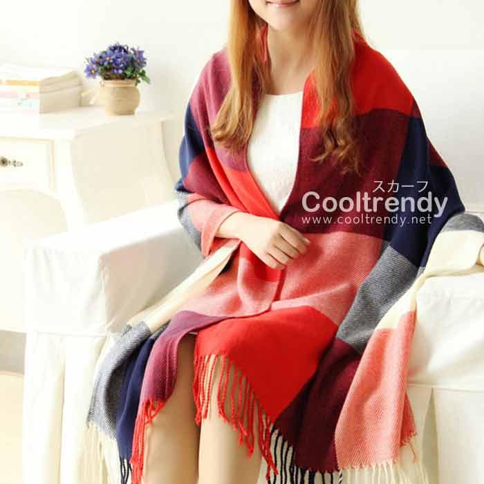 ผ้าพันคอ ผ้าคลุมพัชมีนา Pashmina scarf ลายตาราง size 200x60 cm - สี Red blue