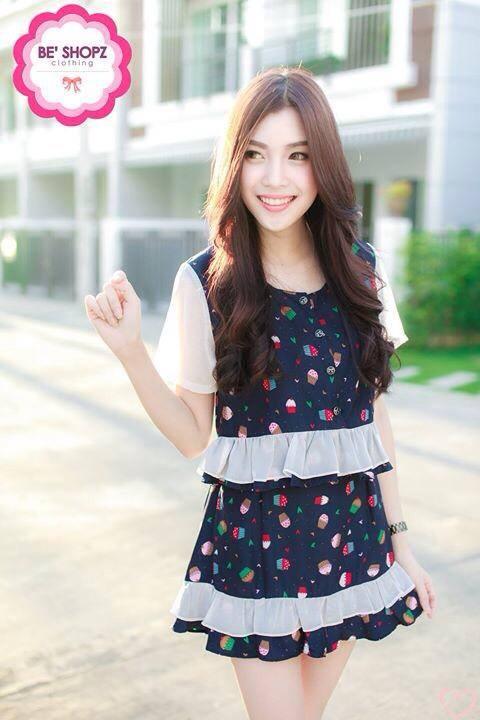 """""""พร้อมส่ง"""" เสื้อผ้าแฟชั่นไทย setสื้อ + กระโปรงลายคัพเค้ก -สีกรม"""