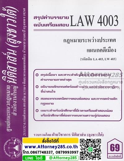 ชีทสรุป LAW 4003 กฎหมายระหว่างประเทศ แผนกคดีเมือง ม.รามคำแหง (นิติสาส์น ลุงชาวใต้)