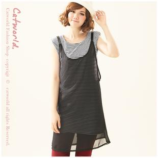 """""""พร้อมส่งค่ะ""""เสื้อผ้าแฟชั่นสไตล์เกาหลีราคาถูก Brand Catworld set 2 ชิ้น เดรสแขนกุดลายขวางสีขาวดำ เสริมฟองน้ำที่ไหล่ +เสื้อคลุมตัวยาวสายหนัง -สีดำ"""