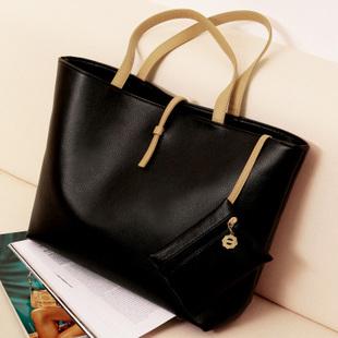 """""""พร้อมส่ง""""กระเป๋าแฟชั่น Axixi สายสีครีม ใบใหญ่ บรรจุของได้เยอะ สะพายได้ แบบเดียว สวยค่ะ -สีดำ"""