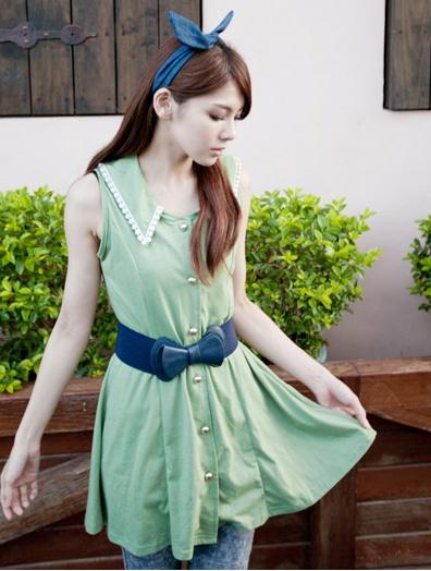 """""""พร้อมส่งค่ะ""""เสื้อผ้าแฟชั่นสไตล์เกาหลีราคาถูก Brand Catworld เดรสแขนกุด คอปกแต่งลูกไม้ถัก กระุดุมหน้าผ่ายาว ไม่มีซับใน น่ารักดีค่ะ (ไม่รวมเข็มขัดนะคะ)"""