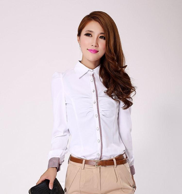 เสื้อเชิ๊ตผู้หญิงสีขาวคลิปสก็อต แขนยาวแฟชั่นเรียบหรู