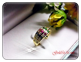 แหวนพลอยนพเก้า gold plated 0.5microns