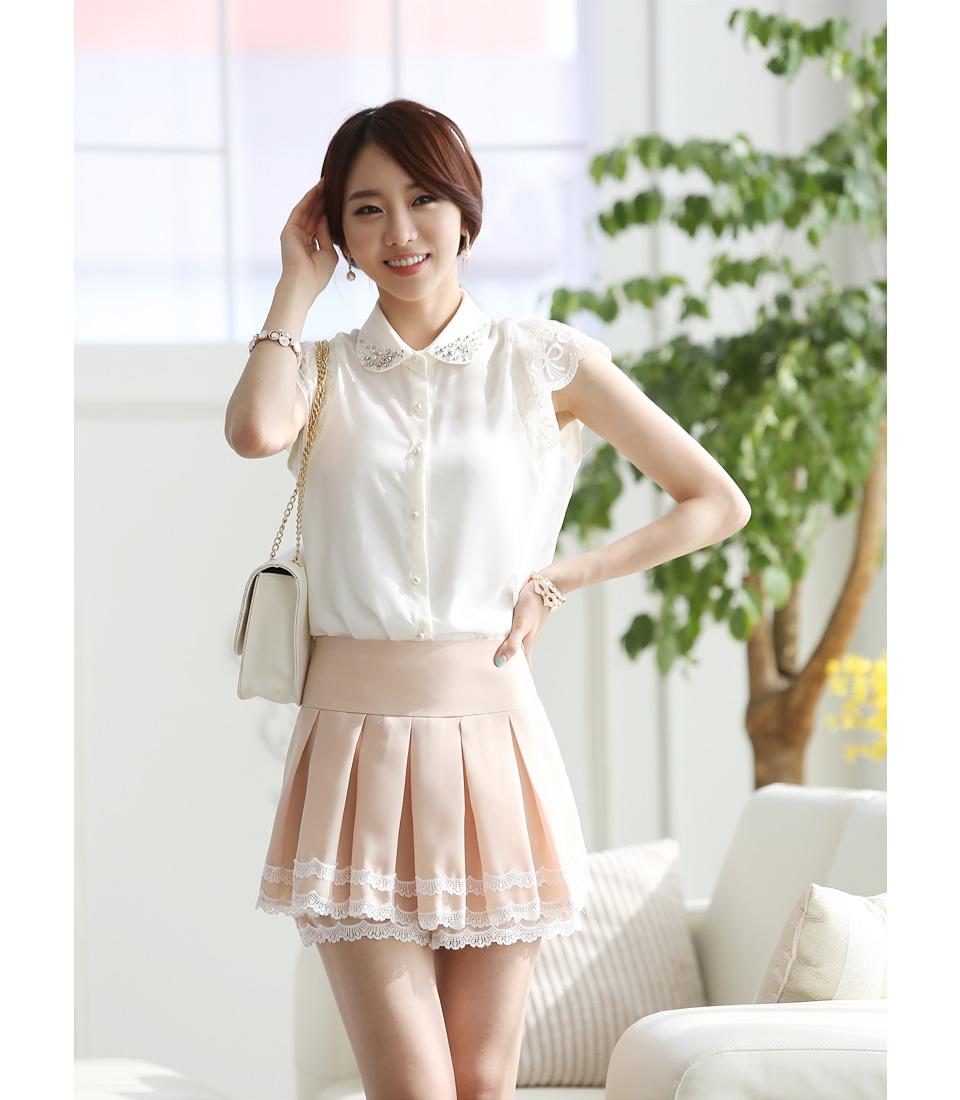 เสื้อทำงานแขนสั้นสีขาวน่ารักๆ ผ้าใส่สบาย