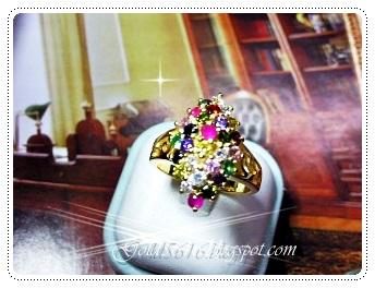 แหวนนพเก้าทรงดอกกระทุ่ม/gold plated 5microns