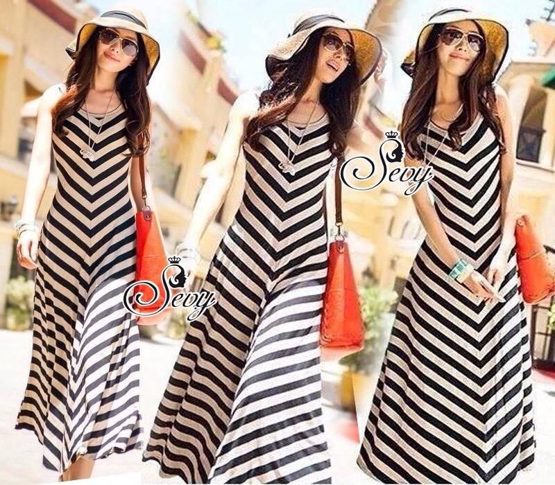 Sevy Arrow Stripes Maxi Dress