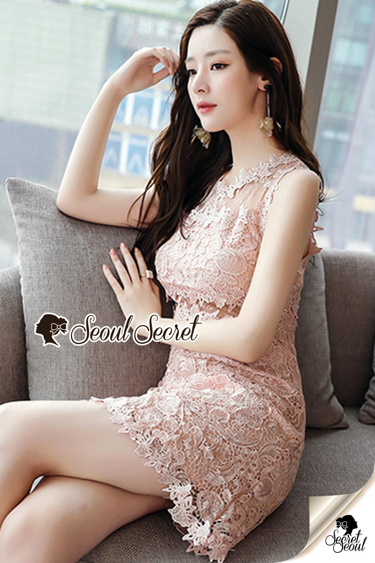 ชุดเดรสเกาหลี พร้อมส่งPastel Pinky Cami Lace Dress