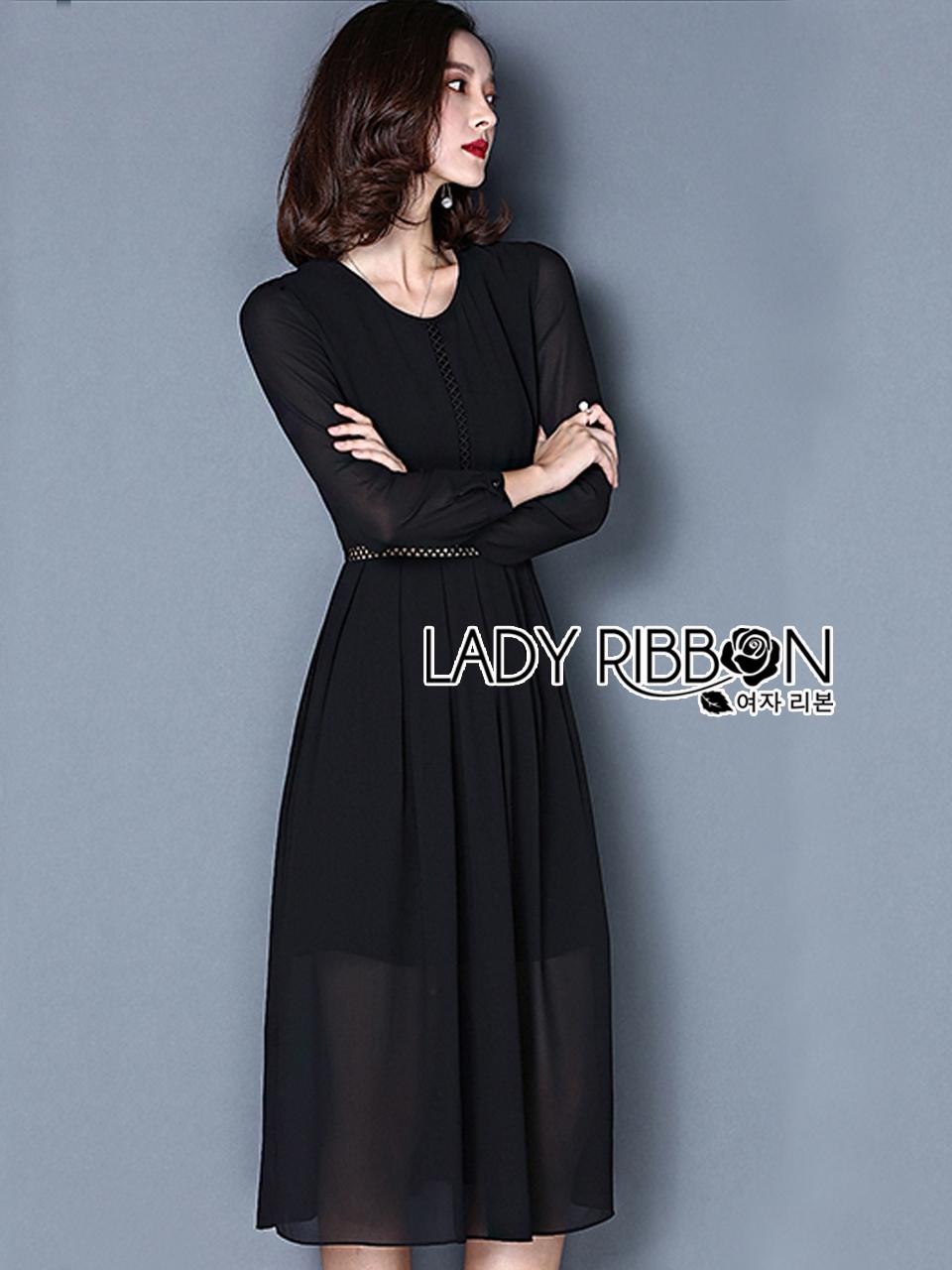ชุดเดรสเกาหลี พร้อมส่ง เดรสยาวผ้าชีฟองสีดำสไตล์เรียบหรู