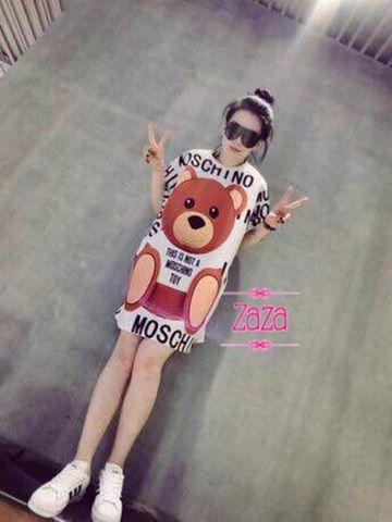 เสื้อผ้าเกาหลี พร้อมส่ง เสื้อยืด TEDDY BEAR MOSCHINO