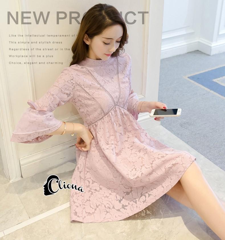 ชุดเดรสเกาหลี พร้อมส่งmini dress สีชมพูพาสเทล ทรงไฮโซหรูหรา