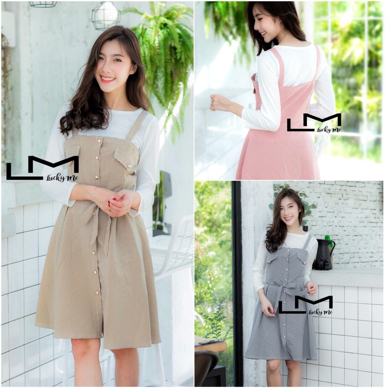 เสื้อผ้าเกาหลีพร้อมส่ง ชุดเซทเสื้อแขนยาว+เดรสลายตาราง