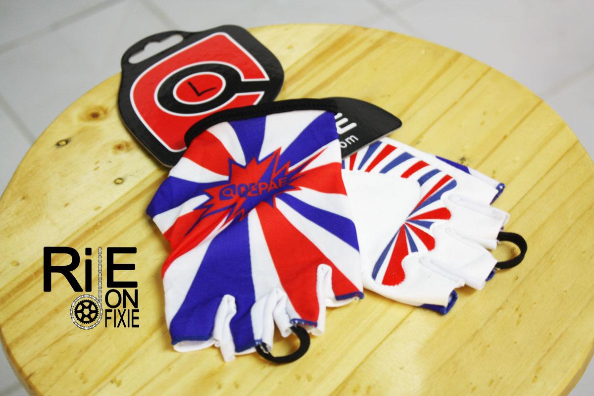 ถุงมือเจลครึ่งนิ้ว QEPAE - Union Jack