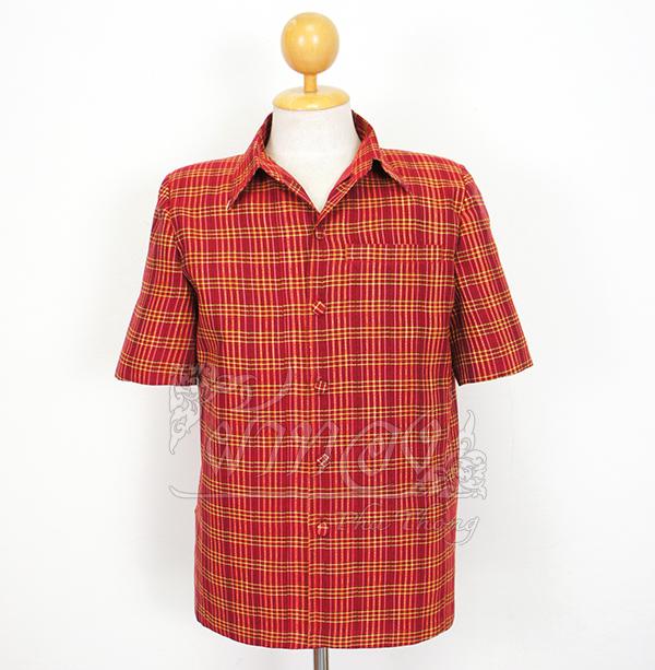 เสื้อสูทผ้าฝ้ายลายก้านมะลิ สีแดง ไซส์ S