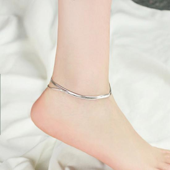 สร้อยข้อเท้าเกาหลีแบบห่วงหลายห่วงประดับเงิน