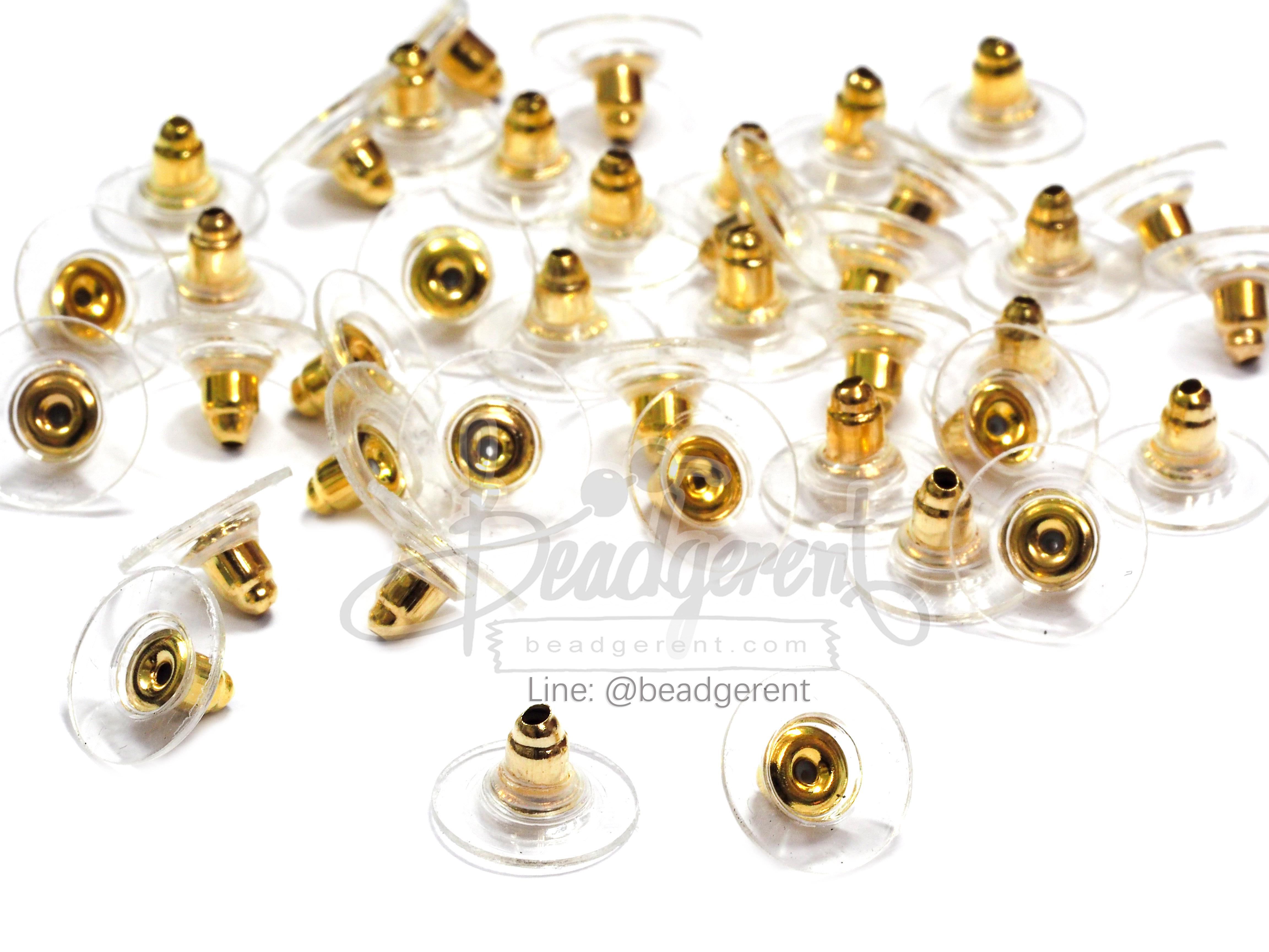 แป้นต่างหู ฐานแบน ขนาด12มม. สีทอง (20 คู่)