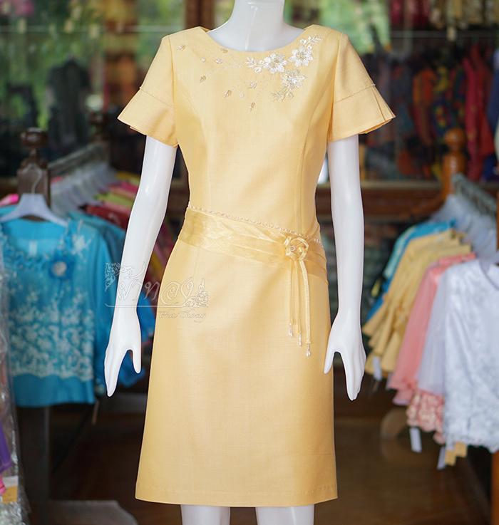 เดรสผ้าฝ้ายสุโขทัย สีเหลือง ไซส์ XL