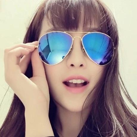แว่นตากันแดดแฟชั่นเกาหลี กรอบโลหะสีทองเลนส์ปรอทสีน้ำเงิน