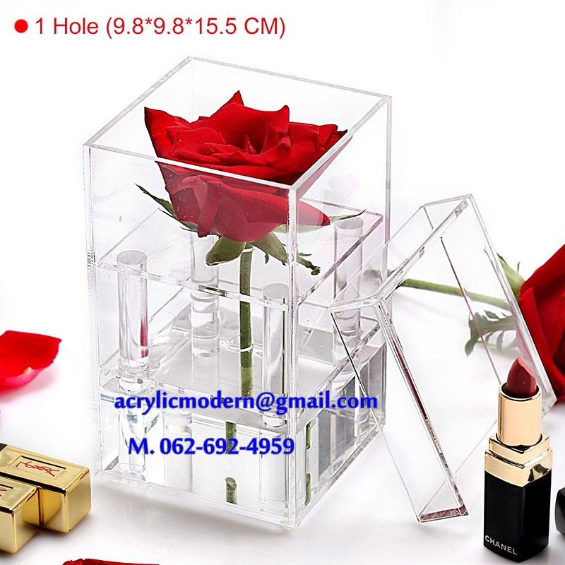 กล่องอครีลิคใส ใส่ดอกกุหลาบ 1 ดอก