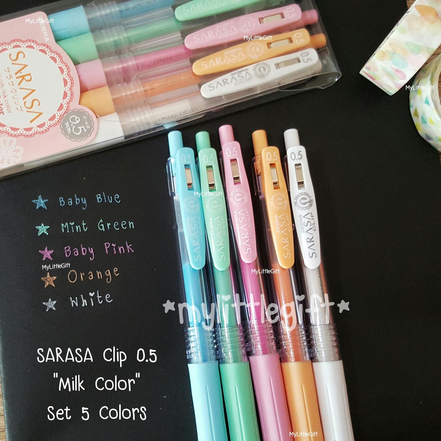 """SARASA Clip 0.5mm """"Milk Color"""" Set 5 Colors"""