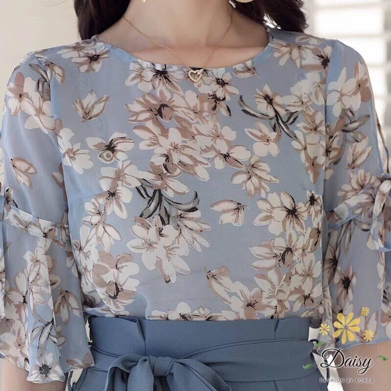 ชุดเซ็ท เสื้อ+กางเกง เสื้อผ้าชีฟองเกาหลีสีฟ้าอ่อน