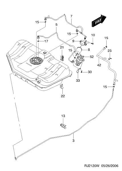 ท่อน้ำมันเบนซิน(เข้ากรองเบนซิล) OPTRA (เบอร์ 5 ในรูป) / GM
