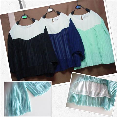 DT816 เสื้อแฟชั่น ผ้าชีฟองเนื้อนิ่ม อัดพลีท พร้อมซับใน งานสวย (3 สี ดำ, กรมท่า, เขียว)