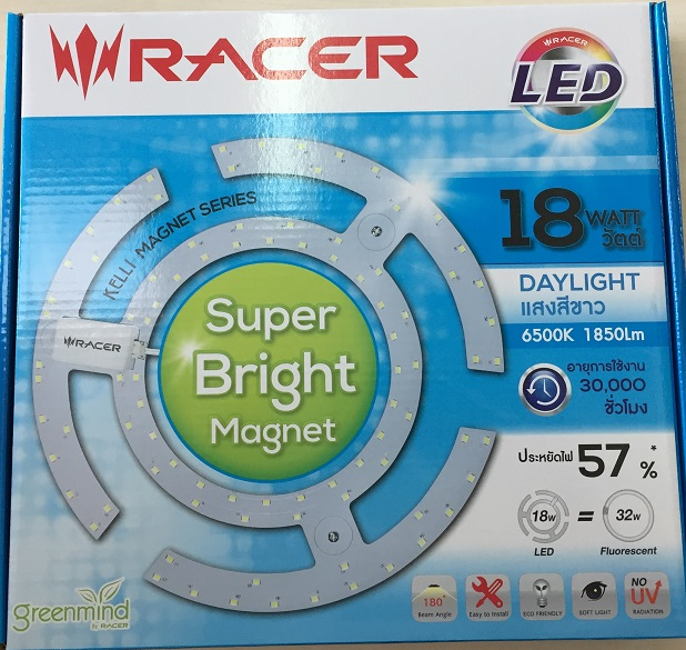 """แผงไฟ LED 18W Day แสงขาว """"RACER"""""""