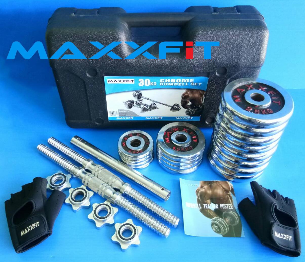 ขาย ชุดดัมเบลเหล็กชุบโครเมียม 30 KG. MAXXFiT