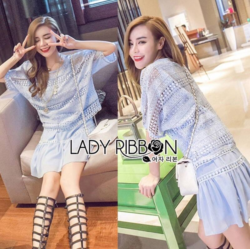 Lady Maria Relaxed Chic Lace Cropped Top and Chiffon Mini Skirt Set L183-89C05
