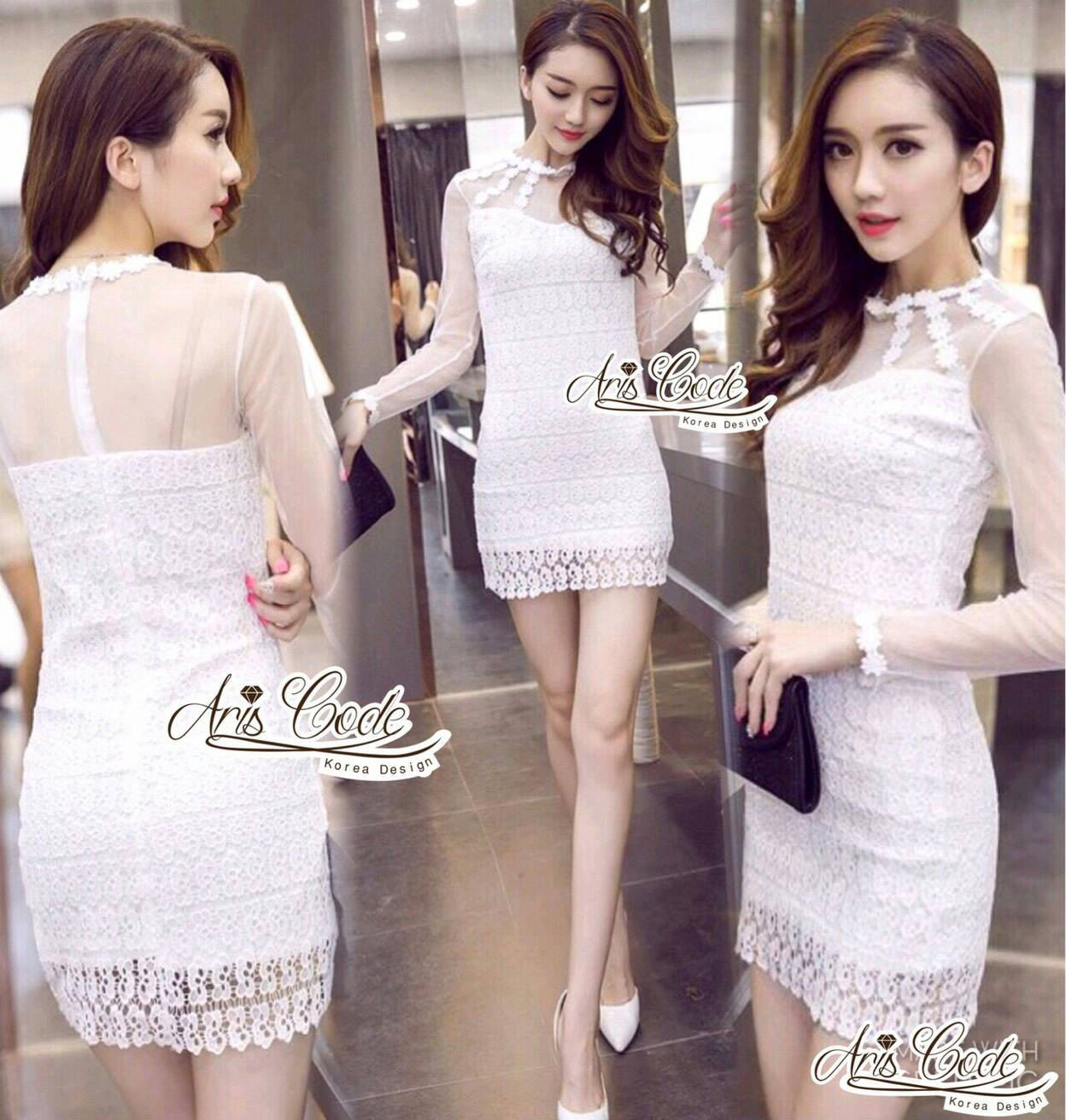 Lace dress with white lace skirt sexy by Aris Code