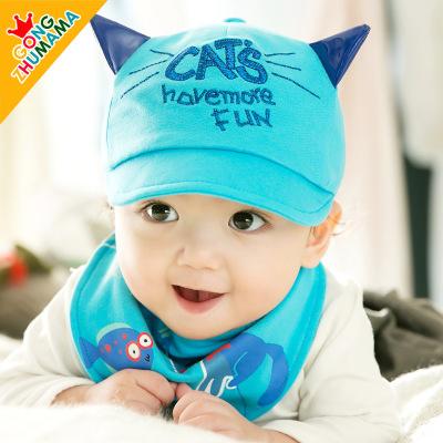ไซส์ 6-18 เดือน หมวกลูกแมว พร้อมผ้ากันเปื้อนสามเหลี่ยม - สีฟ้า