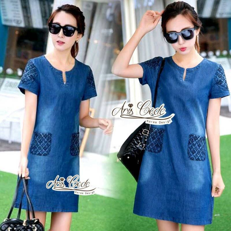 Korean lady love denim jeans short sleeve dress by Aris Code A181-75C01