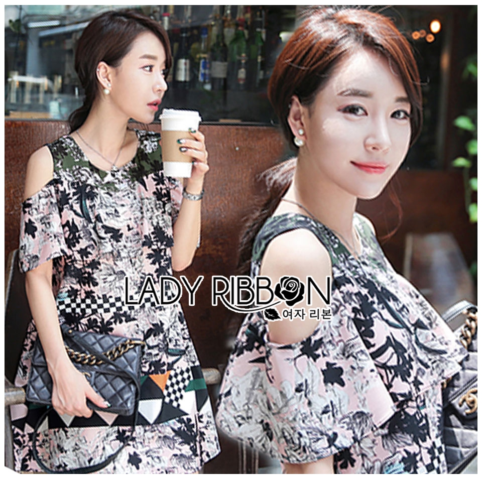 Lady Rachel Print on Print Cut-Out Dress L242-79C04