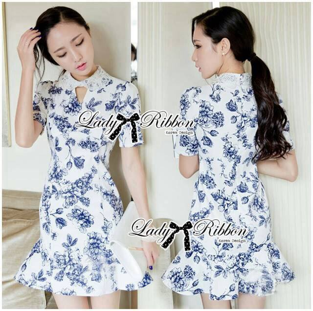 DR-LR-277 Lady Sweet Pearl Collar Blue Floral Blooming Chinoise Dress