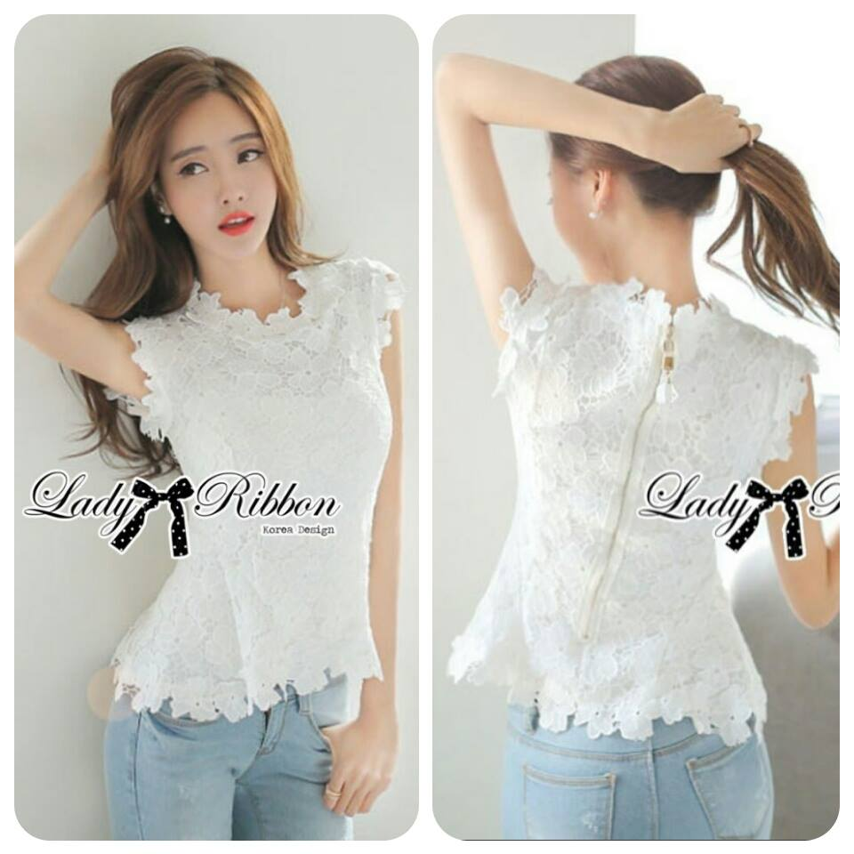 Lady Nicole Classy Flared Sleeveless Lace Top L265-6919
