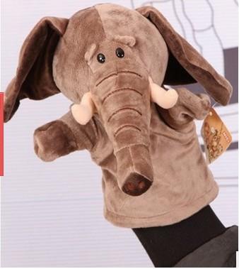 ตุ๊กตาหุ่นมือช้าง หัวใหญ่ ขนนุ่มนิ่ม สวมขยับปากได้