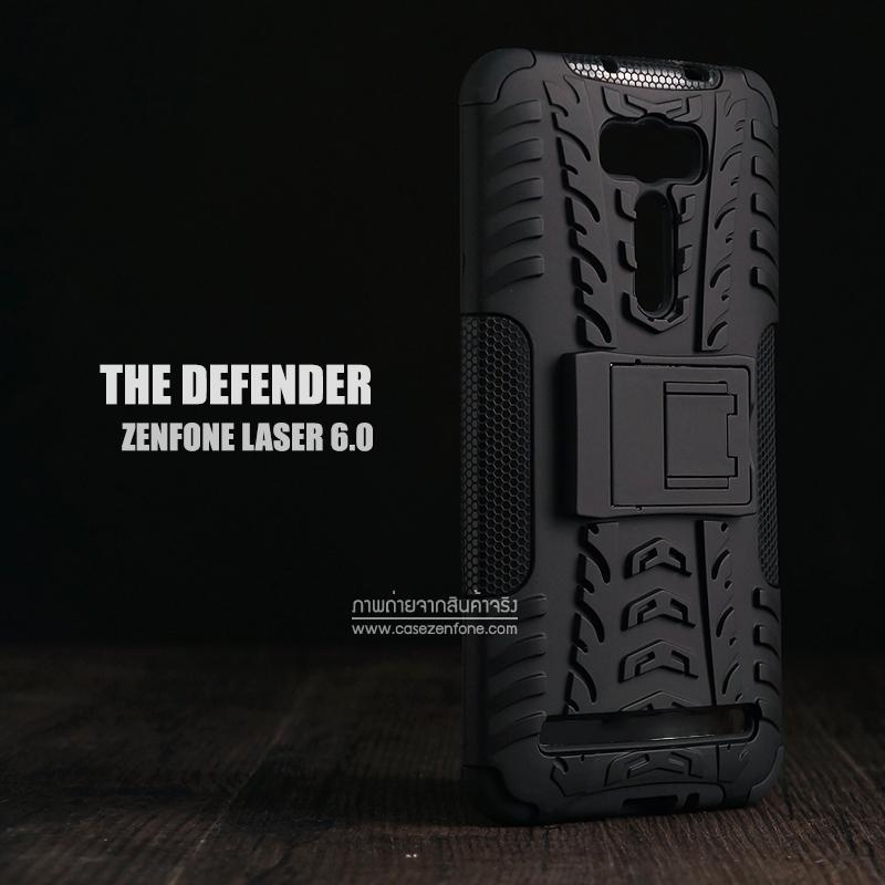"""เคส Zenfone 2 Laser (6 นิ้ว""""   ZE601KL) กรอบบั๊มเปอร์ กันกระแทก Defender สีดำ (เป็นขาตั้งได้)"""